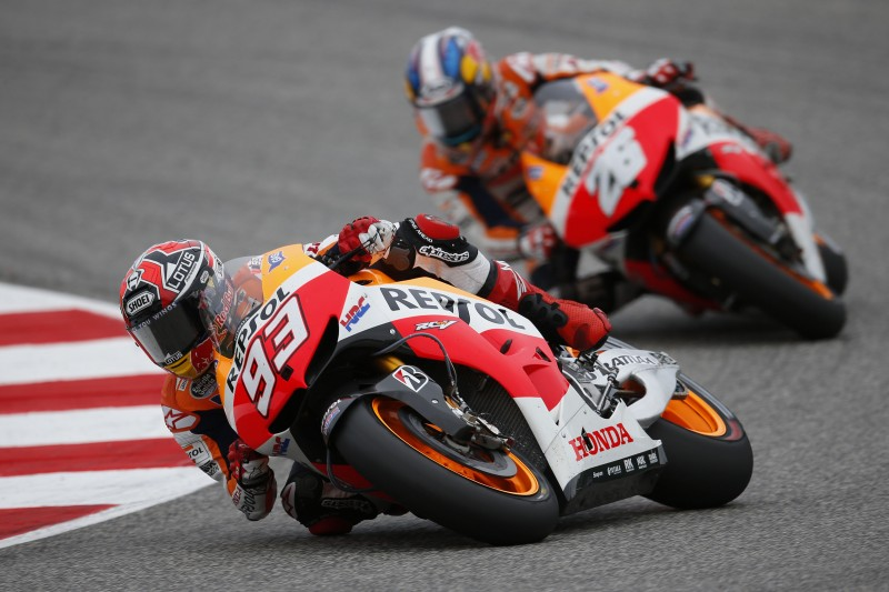 Marquez and Pedrosa seal eighth double podium in epic battle at Misano