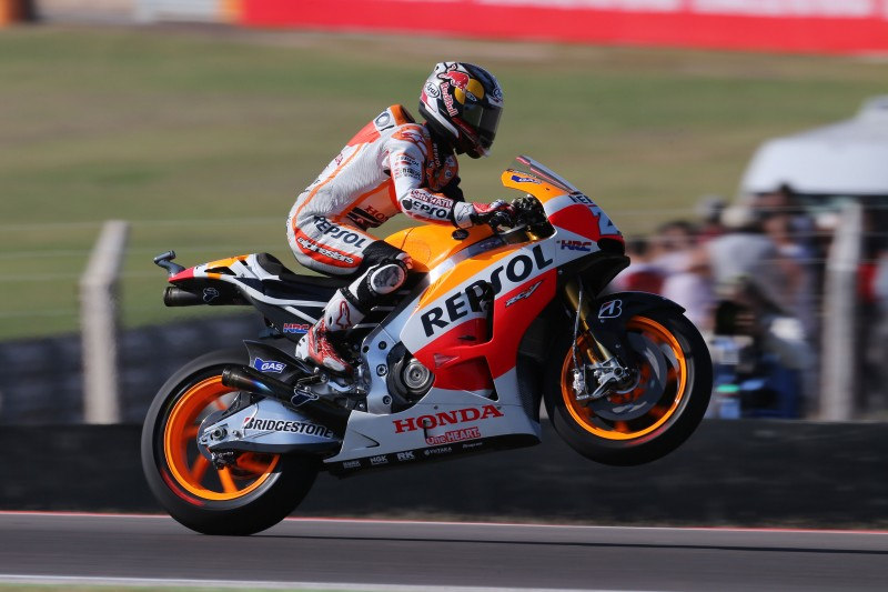 Marquez rages to third consecutive pole with Pedrosa in third