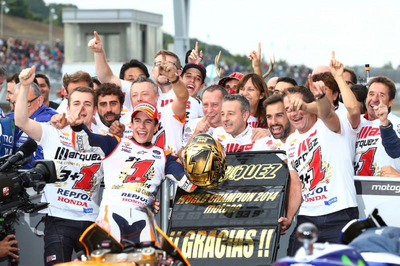 Marc Marquez wins 2014 World Championship in Japan with second place in Motegi