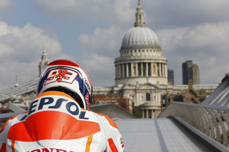 Marquez crosses the Thames en route to Silverstone