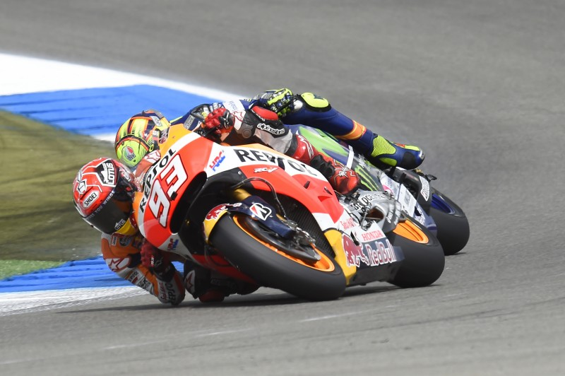 [Amended] Marquez takes second after spectacular battle with Rossi in final chicane with Pedrosa 8th