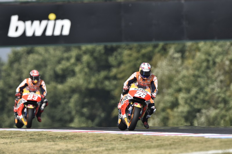 Marquez second fastest on day one in Brno, but injury scare for Pedrosa