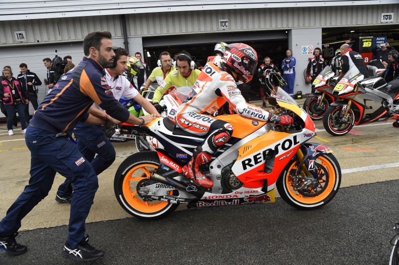 Pedrosa takes fifth but Marquez crashes out of dramatic wet Silverstone race