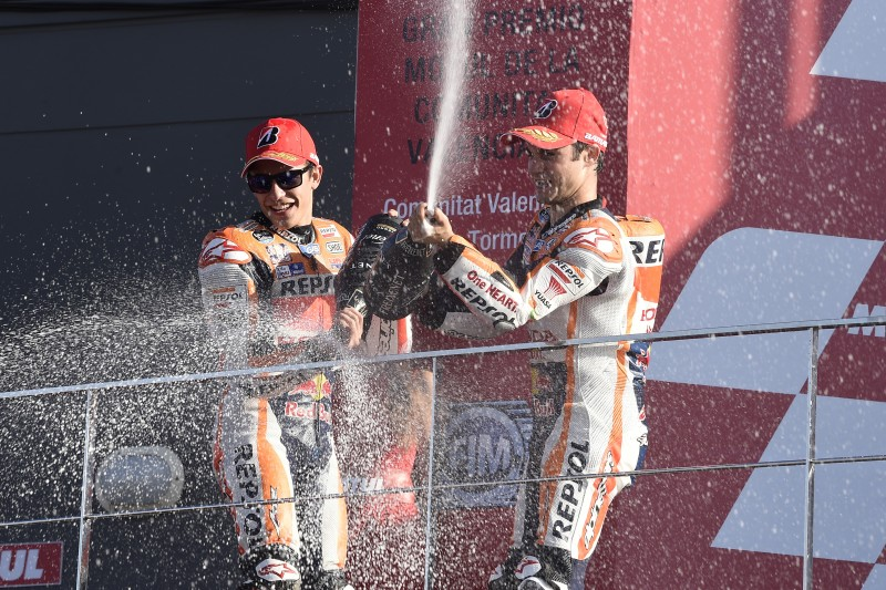 Marquez and Pedrosa celebrate season finale with double podium finish