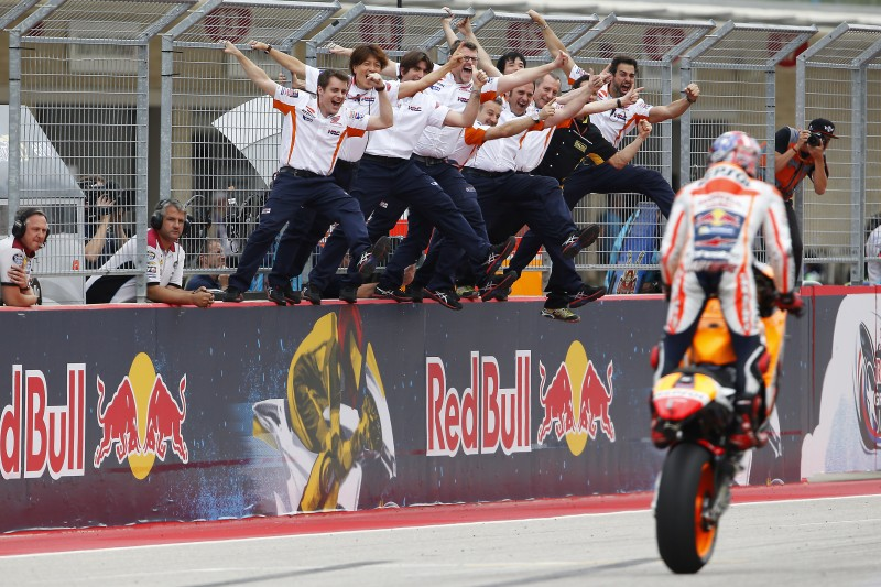 Marquez takes impressive win as Pedrosa crashes out battling for the podium