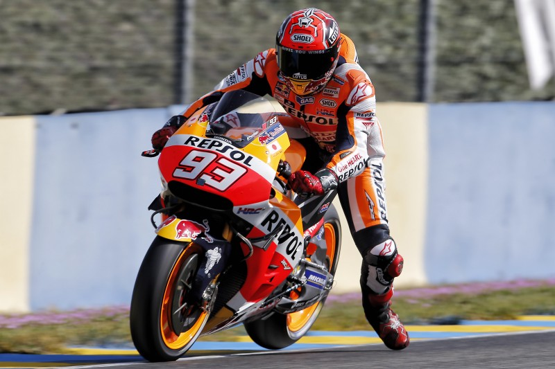 Marquez qualifies second, crash relegates Pedrosa to row 4