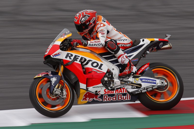 Marquez courageously earns second-row start, Pedrosa in fourth