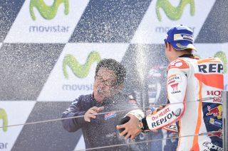 Marc Marquez and Honda Motor Director Shinji Aoyama