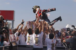 2016 MotoGP World Champion Marc Marquez and his team