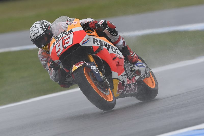 Marquez fourth and Hayden ninth in rainy first day at Phillip Island