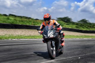 Marc Marquez riding the new Honda CBR250RR