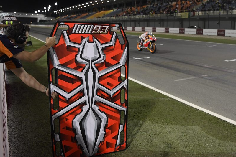 Work continues for Repsol Honda Team on night 2 in Qatar