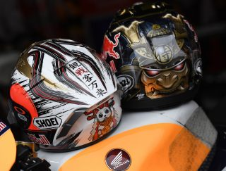 Marquez and Pedrosa helmets