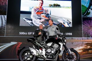 Mick Doohan and General Manager Honda Motorcycle Europe Mr. Vito Cicchetti present the new Honda CB1000R (Honda Press Event EICMA 2017)
