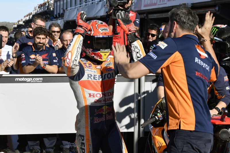 Marquez takes final pole position of the season at Valencia. Second row start for Pedrosa