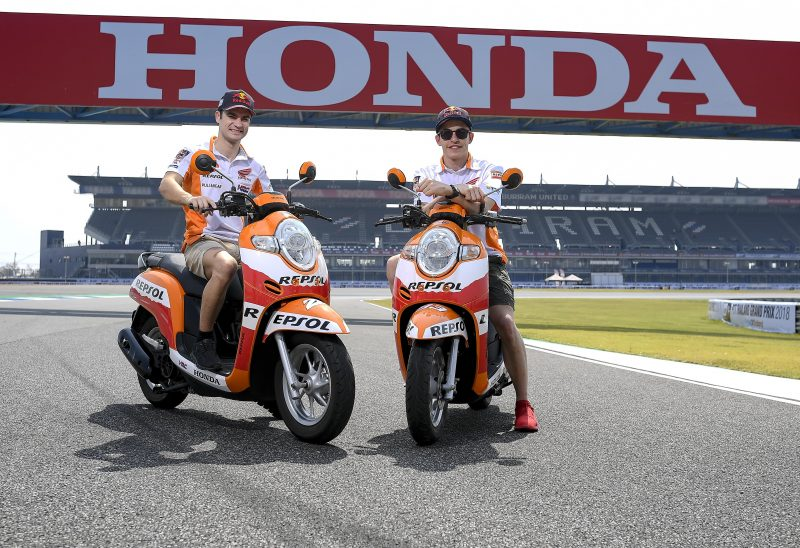 Marc Marquez and Dani Pedrosa arrive at Buriram International Circuit