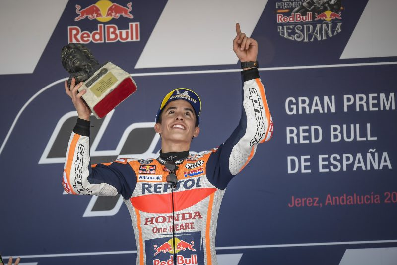 Marquez takes a momentous win at Jerez, Pedrosa crashes out of podium fight