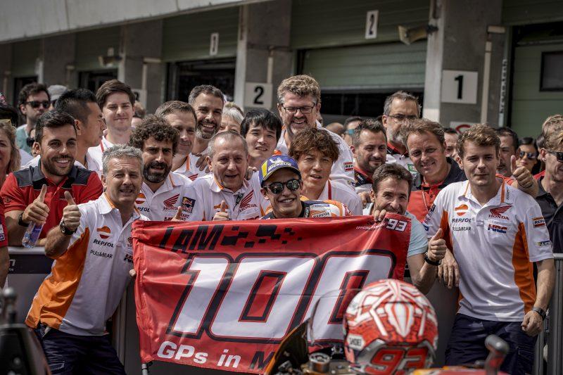 Marc Marquez celebrates his 100th MotoGP race on Brno podium, Pedrosa in eighth place