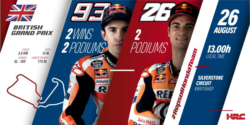 Repsol Honda Team cross the Channel to newly resurfaced Silverstone