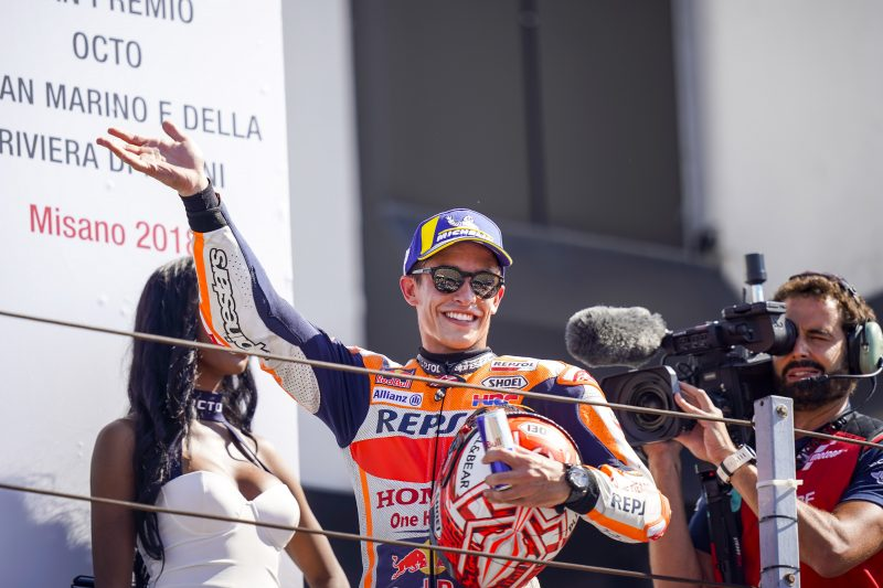 Marc Marquez equals Hailwood's 112 career podiums in Misano, with Dani Pedrosa in sixth
