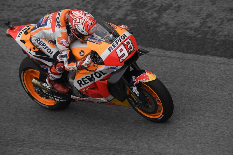 Mighty 80th career pole for Marquez at rainy Sepang, but he'll start from third row. Pedrosa in 10th place