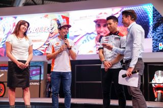 Marquez and Nakagami at HRC's 2019 official presentation at EICMA (Milan, Italy)