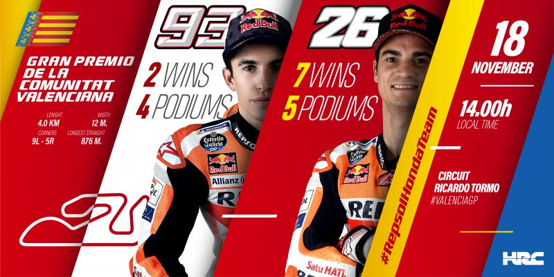 The Repsol Honda Team aims to seal the Triple Crown in Valencia before Dani Pedrosa's farewell