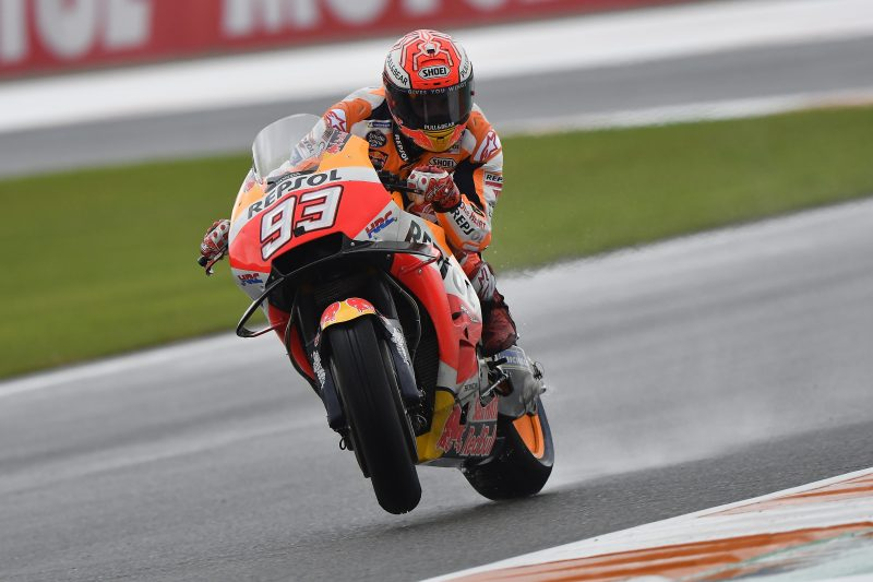 Marquez leads the way at rainy Valencia, Pedrosa positive at 5th-fastest