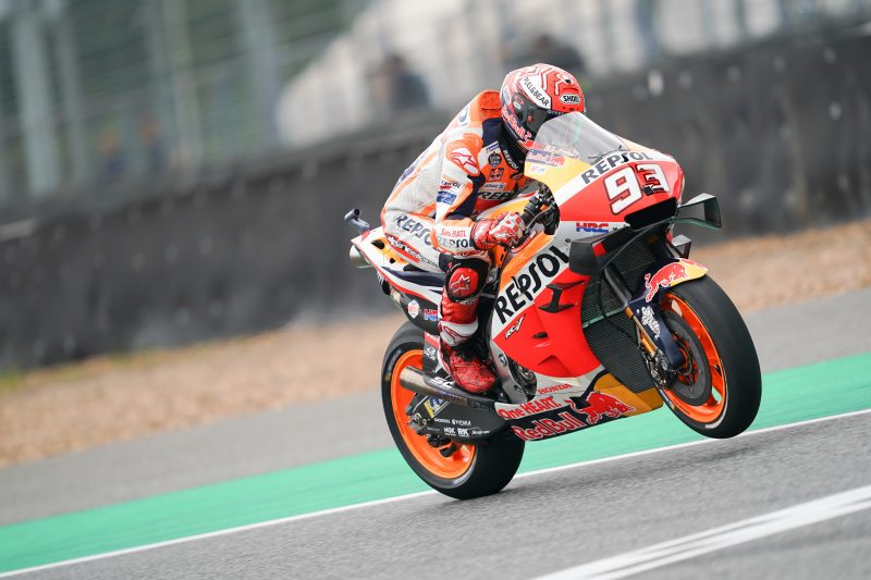 Marquez shakes off crash to challenge for top spot on Friday in Thailand