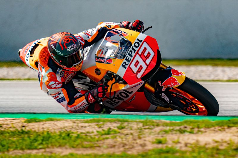 Marc Marquez rides a Honda RC213V-S street bike at Barcelona